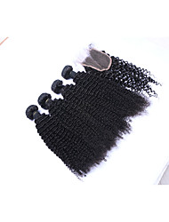 cheap -Brazilian Hair Kinky Curly Curly Weave Human Hair Natural Color Hair Weaves / Hair Bulk Human Hair Weaves Human Hair Extensions