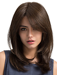 cheap -Synthetic Wig Straight Straight Side Part Wig Long Chestnut Brown Synthetic Hair Women's With Bangs Brown MAYSU