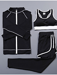 cheap -Women's Activewear Set Workout Outfits Athletic Long Sleeve Spandex Cycling Quick Dry Fitness, Running & Yoga Yoga Fitness Gym Workout Pilates Exercise & Fitness Sportswear Pants / Trousers White