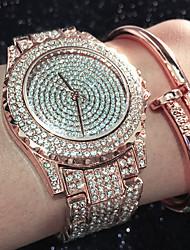 cheap -Women's Bracelet Watch Diamond Watch Gold Watch Quartz Stainless Steel Silver / Gold / Rose Gold Water Resistant / Waterproof Creative Imitation Diamond Analog Ladies Charm Sparkle Casual Bangle -