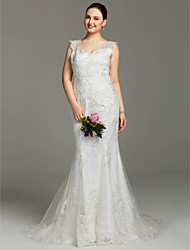 cheap -Mermaid / Trumpet Wedding Dresses V Neck Court Train Lace Sleeveless Open Back See-Through with Buttons Appliques 2021
