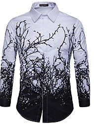 cheap -Men's Shirt Trees / Leaves Print Long Sleeve Daily Tops Black