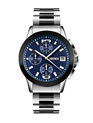 cheap -SKMEI Men's Wrist Watch Japanese Quartz Stainless Steel Silver 30 m Water Resistant / Waterproof Calendar / date / day Stopwatch Analog Classic Vintage - White Black Blue Two Years Battery Life