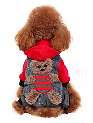 cheap -Dog Costume Coat Hoodie Bear Cosplay Fashion Halloween Party Outdoor Winter Dog Clothes Puppy Clothes Dog Outfits Yellow Red Costume for Girl and Boy Dog Flannel Fabric Cotton XS S M L XL XXL