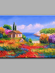 cheap -Hand-Painted Landscape Horizontal, Mediterranean Canvas Oil Painting Home Decoration One Panel With Stretched Frame or Rolled Without Frame