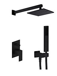 cheap -Shower Set Set - Rainfall Contemporary / Modern Style Painted Finishes Wall Mounted Ceramic Valve Bath Shower Mixer Taps / Brass / Single Handle Three Holes