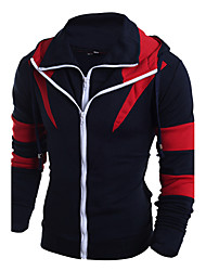 cheap -Men's Plus Size Sports Classic / Active / Designer Long Sleeve Slim Hoodie - Patchwork / Special Design / Fashion Mixed Color / Patchwork Hooded Yellow M / Fall / Winter