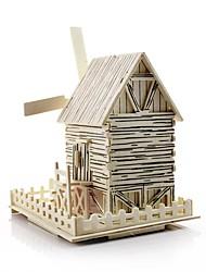 abordables -Petites Voiture Puzzles 3D Moulin à vent Moulin à vent Bâtiment Célèbre Maison A Faire Soi-Même En bois Classique Enfant Unisexe Garçon Jouet Cadeau
