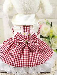 cheap -Dog Dress Dog Clothes Red Blue Pink Costume Cotton Plaid / Check Casual / Daily