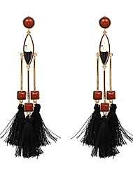 cheap -Women's Drop Earrings Oversized Tassel Bohemian Gothic Fashion Oversized Earrings Jewelry White / Black / Brown For Party Graduation Daily Casual Going out