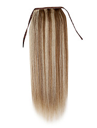 cheap -Clip In Human Hair Extensions Straight Human Hair Ponytails Light Blonde