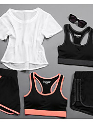 cheap -Women's Activewear Set Workout Outfits Athletic Short Sleeve Mesh Cycling Quick Dry Fitness, Running & Yoga Yoga Fitness Gym Workout Exercise & Fitness Running Sportswear Clothing Suit Black / Orange