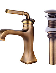cheap -Faucet Set - Widespread Antique Bronze Centerset Single Handle One HoleBath Taps