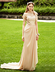 cheap -Mermaid / Trumpet High Neck Court Train Chiffon / Corded Lace Bridesmaid Dress with Bow(s) / Lace / Sash / Ribbon / See Through
