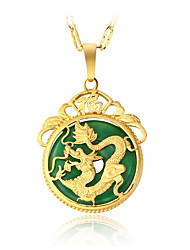 cheap -Jade Pendant Necklace Dragon Asian Luxury Dangling Vintage Gold Plated Alloy Gold Necklace Jewelry For Christmas Gifts Party Special Occasion Birthday Party Evening Gift