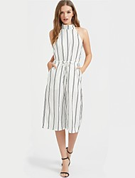 cheap -Women's Backless Daily Halter Neck White Wide Leg Jumpsuit Onesie, Striped Backless S M L Short Sleeve Summer