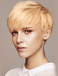 cheap -Human Hair Blend Wig Short Straight Pixie Cut Short Hairstyles 2020 With Bangs Straight Machine Made Women's Beige Blonde / Bleached Blonde