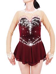 abordables -21Grams Robe de Patinage Artistique Femme Fille Patinage Robes Bordeaux-Rouge Spandex Haute élasticité Compétition Tenue de Patinage Chaud Fait à la main A Bijoux Strass Manches Longues Patinage sur