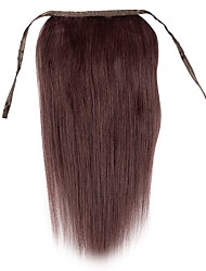 cheap -18inch Silk Straight Clip In  High Ponytail Human Hair Extensions 80g