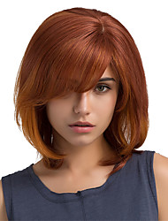 cheap -Human Hair Blend Wig Straight Classic Short Hairstyles 2020 Classic Straight Ombre Machine Made Red Daily
