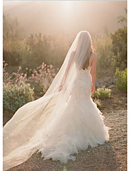 cheap -One-tier Cut Edge Wedding Veil Chapel Veils with Flower Comb Tulle / Angel cut / Waterfall