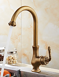 cheap -Luxurious Antique Copper Deck Mounted Antique / European Kitchen Taps / Brass High Arc Kitchen faucet
