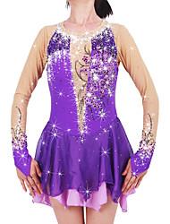 abordables -Robe de Patinage Artistique Femme Fille Patinage Robes Violet Spandex Haute élasticité Compétition Tenue de Patinage Chaud Fait à la main A Bijoux Strass Manches Longues Patinage sur glace Patinage