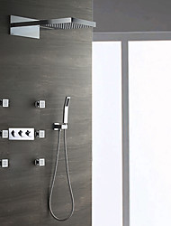cheap -Wall Mounted Rain Shower Handshower Included Ceramic Valve Three Handles Nine Holes Shower Faucet