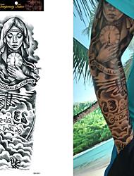 cheap -1/4/8 pcs Waterproof Temporary Tattoo Sticker Full Arm Large Skull Old School Tatoo Stickers Flash Fake Tattoos for Men Women
