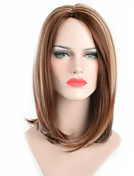 cheap -Synthetic Wig Straight Straight Bob Pixie Cut Wig Medium Length Brown Synthetic Hair Women's Natural Hairline Brown