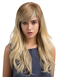 cheap -Human Hair Wig Classic Natural Wave Classic Natural Wave Ombre Machine Made Light Blonde Daily