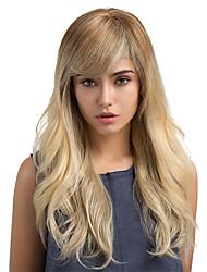 Недорогие -Человеческие волосы Парик Классика Естественные волны Классика Естественные волны Омбре Машинное плетение Отбеливатель Blonde Повседневные