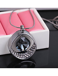 cheap -Women's Pendant Necklace Dangling Rhinestone Alloy Silver Silver / Black Necklace Jewelry For Wedding Party Special Occasion Anniversary Birthday