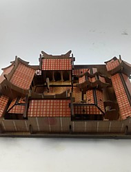 cheap -3D Puzzle Jigsaw Puzzle Chinese Architecture House Wooden Unisex Toy Gift