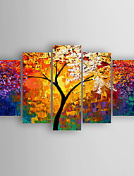 cheap -Oil Painting Hand Painted - Abstract Abstract Stretched Canvas / Five Panels