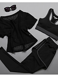 cheap -Women's Activewear Set Workout Outfits Athletic Short Sleeve Mesh Cycling Quick Dry Camping & Hiking Yoga Fitness Gym Workout Pilates Exercise & Fitness Sportswear Pants / Trousers Black Fuchsia