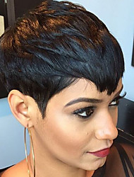 cheap -Human Hair Blend Wig Short Straight Short Hairstyles 2020 With Bangs Berry Straight Short Machine Made Women's Natural Black #1B
