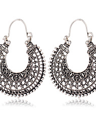 cheap -Women's Hoop Earrings Hollow Out filigree Ladies Unique Design Vintage Bohemian Boho Earrings Jewelry Silver For Christmas Gifts Party Special Occasion Anniversary Birthday Congratulations