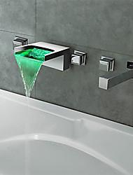 cheap -Bathtub Faucet - Contemporary Chrome Wall Mounted Brass Valve Bath Shower Mixer Taps / Three Handles Five Holes