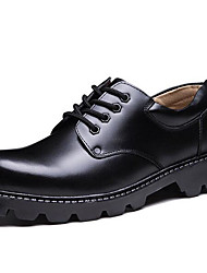 cheap -Men's Formal Shoes Leather Fall / Winter Preppy Oxfords Black / Party & Evening / Party & Evening