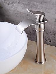 cheap -Bathroom Sink Faucet - Waterfall Nickel Brushed Deck Mounted Single Handle One HoleBath Taps