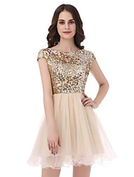cheap -Ball Gown Cute Engagement Party Holiday Homecoming Dress Scoop Neck Short Sleeve Short / Mini Tulle Sequined with Sequin 2020 / Cocktail Party / Prom