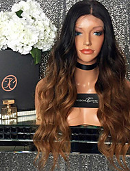 cheap -Remy Human Hair Glueless Lace Front Lace Front Wig Beyonce style Brazilian Hair Body Wave Ombre Wig 150% Density with Baby Hair Ombre Hair Natural Hairline African American Wig 100% Hand Tied Women's
