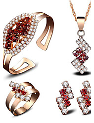 cheap -Women's AAA Cubic Zirconia Synthetic Ruby Bridal Jewelry Sets Fashion Euramerican 18K Gold Plated Earrings Jewelry Gold For Wedding Party Event / Party Dailywear