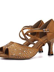 cheap -Women's Dance Shoes Elastic Fabric Latin Shoes / Salsa Shoes Rhinestone / Buckle Sandal / Heel Flared Heel Purple / Brown / Red / Performance / Leather / EU41