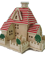 cheap -3D Puzzle Jigsaw Puzzle Model Building Kit House Wooden Kid's Unisex Toy Gift
