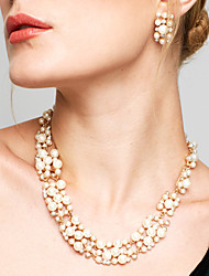 cheap -Women's Jewelry Set Drop Earrings Pearl Necklace Twisted Ladies Elegant Fashion European Bridal Pearl Earrings Jewelry White / Coffee For Wedding Party Daily Masquerade Engagement Party Prom