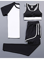 cheap -Women's Spandex Workout Set Activewear Set Yoga Suit Yoga Running Pilates Cycling Quick Dry Camping & Hiking Sportswear Tracksuit Compression Clothing Short Sleeve Activewear Stretchy
