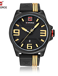 cheap -NAVIFORCE Men's Wrist Watch Japanese Quartz 30 m Water Resistant / Water Proof Calendar / date / day Cool Silicone Band Analog Casual Fashion Black - Yellow Red White / Yellow Two Years Battery Life