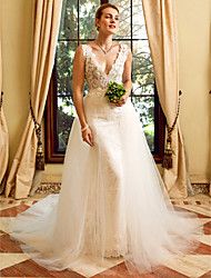 cheap -Sheath / Column Wedding Dresses V Neck Chapel Train Lace Tulle Regular Straps See-Through with Appliques 2021 / Removable train